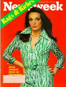 Diane von Fürstenberg modeling her wrap dress in 1972.