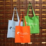 The LA Public Library totes are colorful cotton.