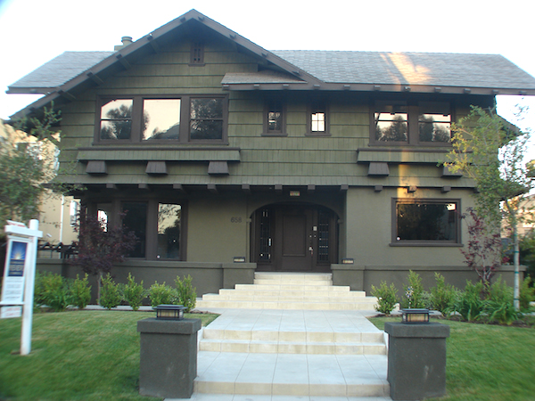 The elegant dark wood, gabled Craftsman at 658 S Bronson Ave. as it looks today. It is an example of the Craftsman style built in 1913 and has already been designated Historic-Cultural Monument #803 by the City of Los Angeles.