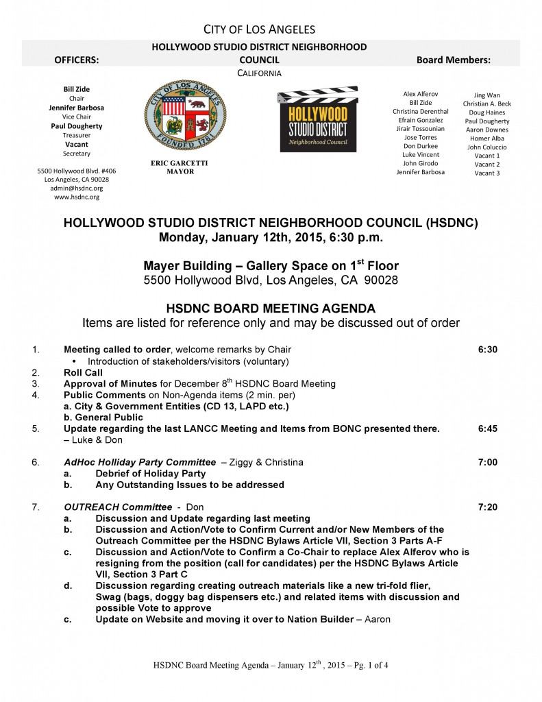 Hollywood Studio District Neighborhood Council Board Meeting @ Mayer Building - Gallery Space 1st Floor | Los Angeles | California | United States