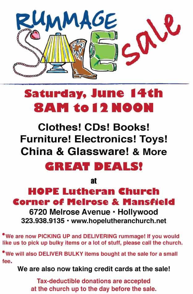 Hope Lutheran Rummage Sale June 2014