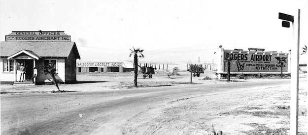 A xxxx photograph of the Rogers Airport, located at the corner of Wilshire Blvd and Crescent, now Fairfax.
