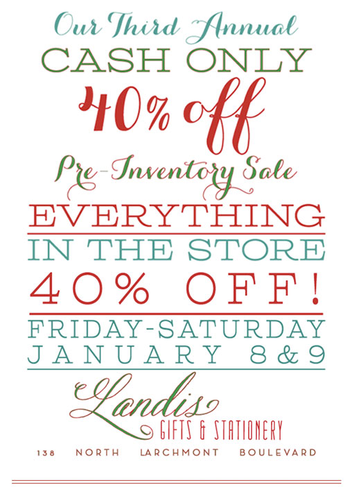 third annual winter sale at landis gifts stationery larchmont