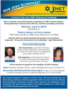 JNET Hollywood Meeting June 6 @ Temple Israel of Hollywood | Los Angeles | California | United States