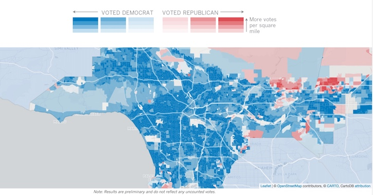 LA Times Precinct Level map shows how your neighbors voted on Tuesday
