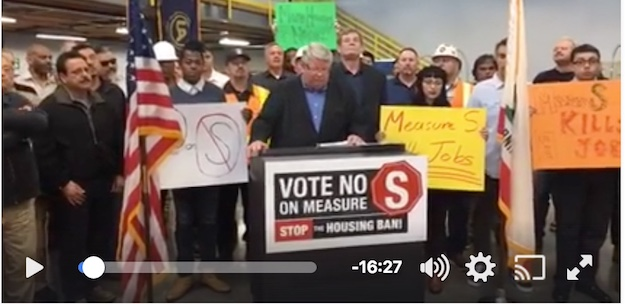 Screen shot from video from No on Measure S Campaign press conference