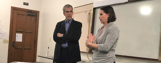 Ken Bernstein, LA City Planner and Julia Duncan, CD4 Land Use Deputy discuss residential zoning options with Brookside residents at the May HOA meeting