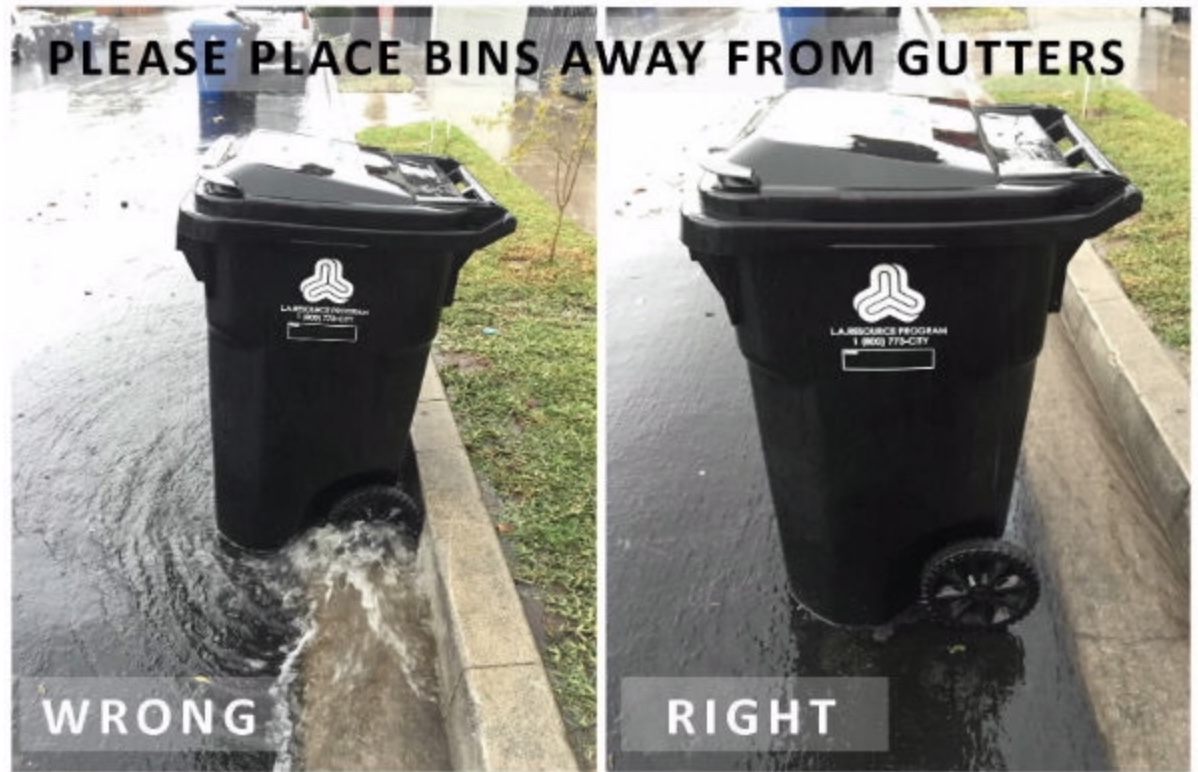 Prevent Runaway Trash Bins In Rainy Weather Move Away